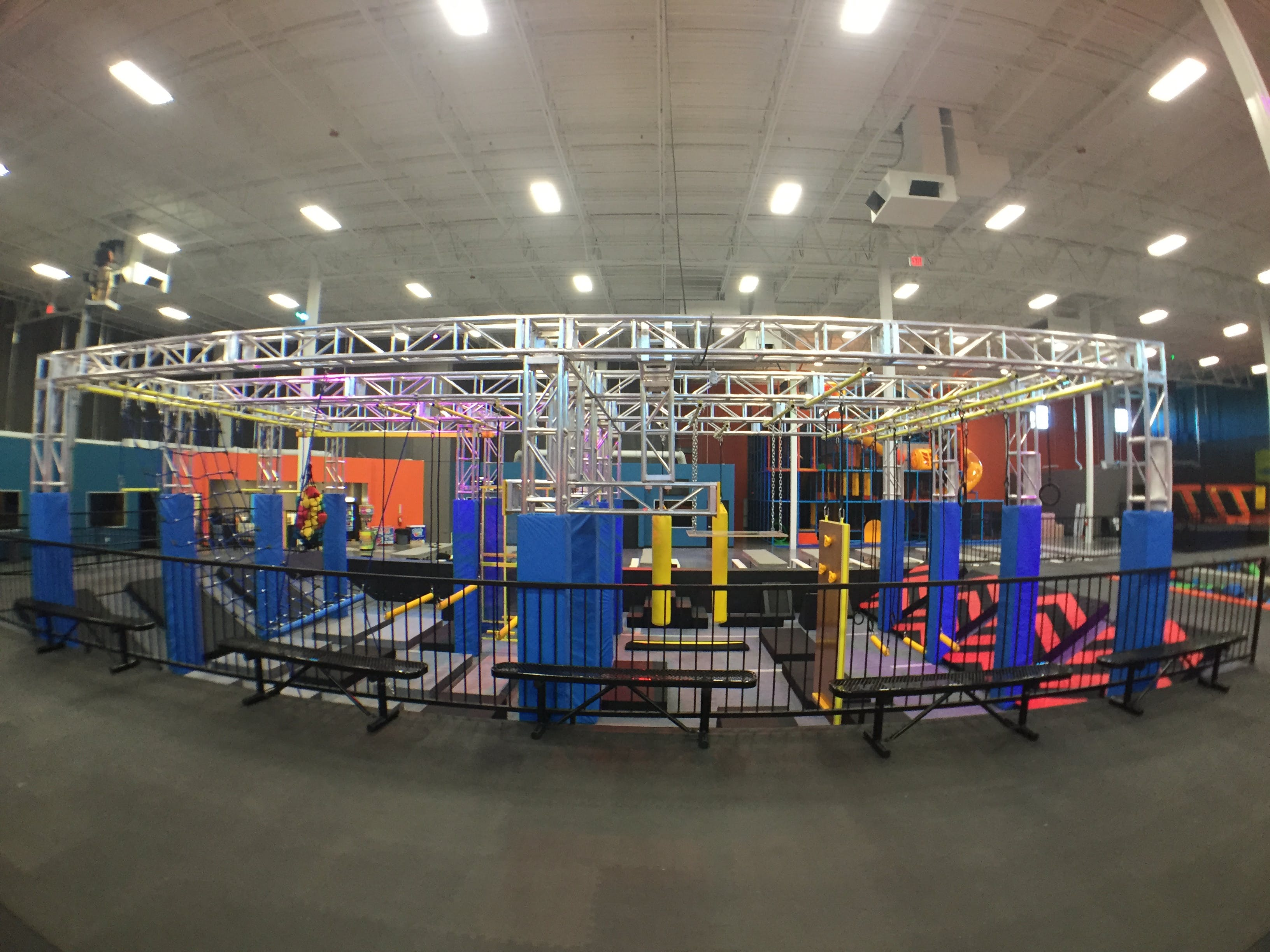 American Ninja Warrior Course At Trampoline Park Side View
