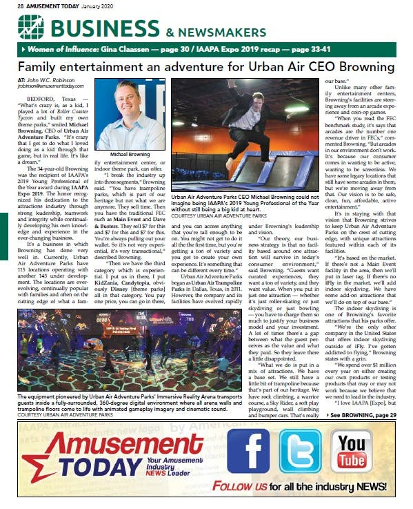 Amusement Today Magazine Features CEO Michael Browning